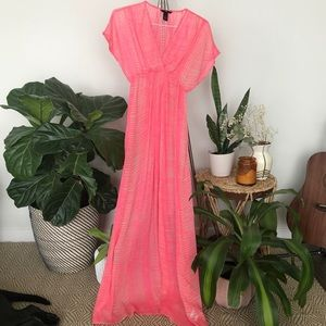 H&M pink patterned cover-up maxi dress.